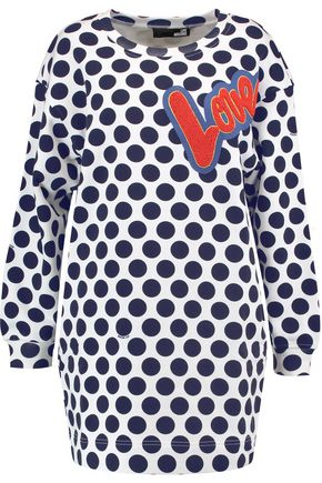 LOVE MOSCHINO Appliquéd polka-dot cotton-jersey mini sweater dress