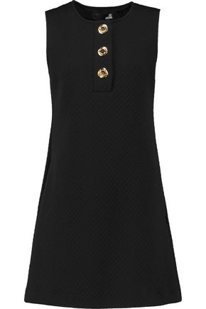 LOVE MOSCHINO Flared button-embellished quilted jersey mini dress