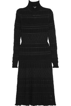 LOVE MOSCHINO Textured wool-blend midi dress