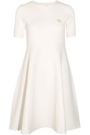 LOVE MOSCHINO Pleated stretch-knit dress