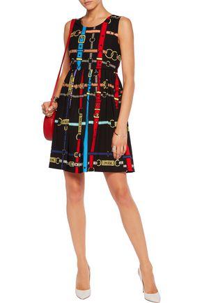 LOVE MOSCHINO Gathered printed cotton-poplin mini dress