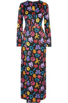 LOVE MOSCHINO Printed satin maxi dress