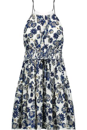CINQ À SEPT Lotus gathered floral-print silk-georgette mini dress