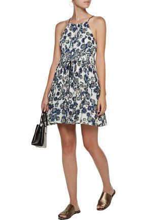 CINQ À SEPT Lotus gathered floral-print silk-georgette mini dress