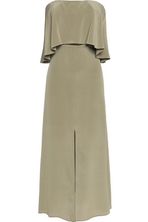 ZIMMERMANN Layered strapless silk-satin midi dress