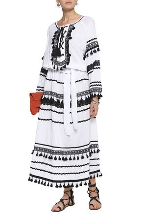 DODO BAR OR Lace-up embellished cotton-gauze maxi dress