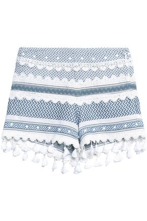 DODO BAR OR Lace-trimmed embellished cotton-jacquard shorts