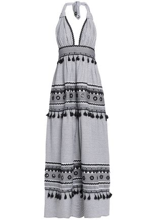 DODO BAR OR Two-tone tassell-trimmed embellished cotton halter maxi dress