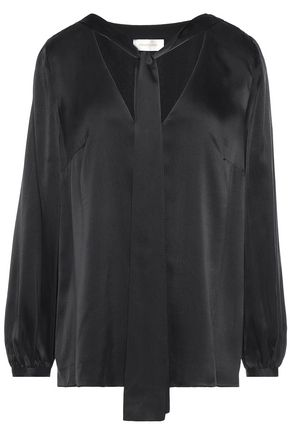 ZIMMERMANN Draped washed silk-satin blouse