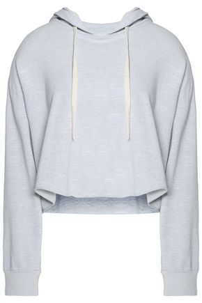 MONROW Cropped cotton-blend jersey hooded sweater