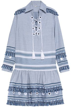 DODO BAR OR Two-tone fringe-trimmed embellished embroidered cotton mini dress
