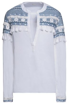 DODO BAR OR Nathaniel lace-trimmed embellished cotton-broadcloth top