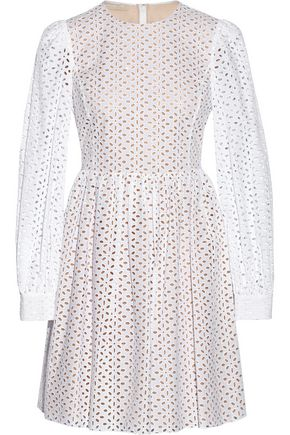 MICHAEL KORS COLLECTION Broderie anglaise cotton mini dress