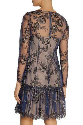 MARCHESA NOTTE Appliquéd tulle mini dress