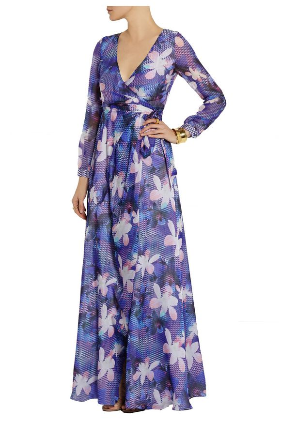Printed silk-chiffon wrap gown | MATTHEW WILLIAMSON | Sale up to 70% off |  THE OUTNET