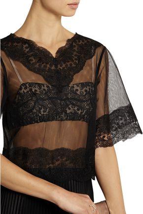CHRISTOPHER KANE Lace-paneled tulle and plissé-satin dress