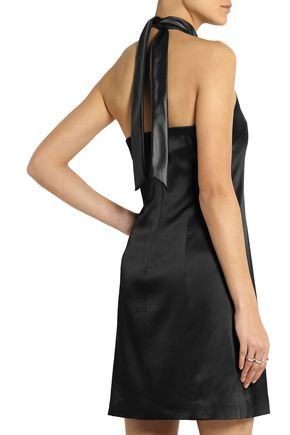 GRACE MMXIII Angelina faux leather-trimmed satin mini dress