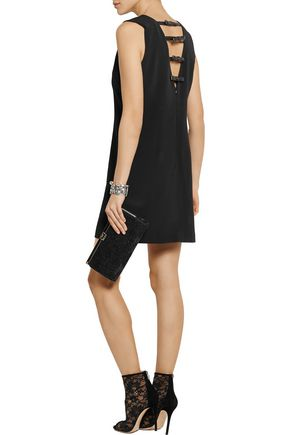 GRACE MMXIII Annelot faux leather-trimmed stretch-crepe mini dress