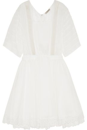 NINA RICCI Silk crepe de chine, georgette and lace mini dress