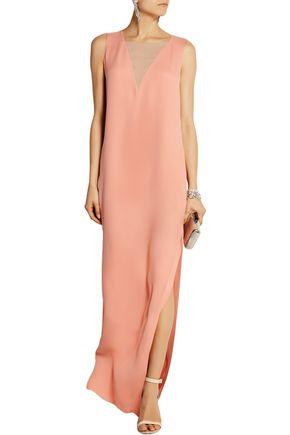 LANVIN Chiffon-paneled silk-crepe column gown