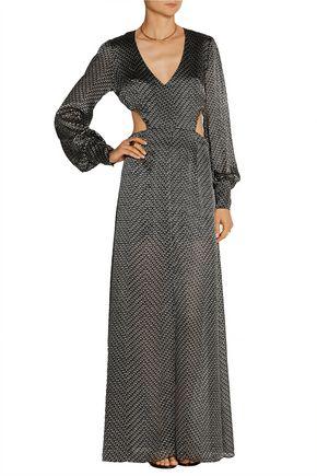 HANEY The Katie cutout fil coupé silk-chiffon gown