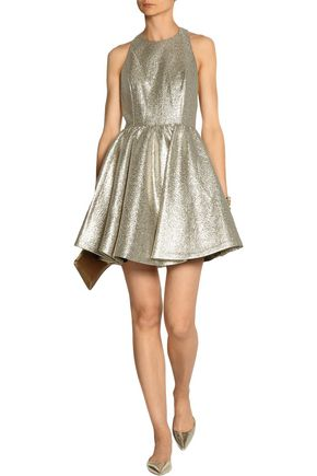 ALICE + OLIVIA Tevin racer-back lamé mini dress