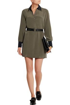 VICTORIA, VICTORIA BECKHAM Belted silk crepe de chine mini dress