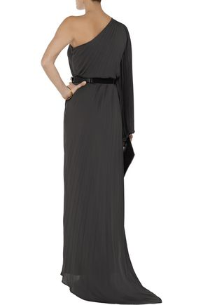 HALSTON HERITAGE One-shoulder pleated crepe gown