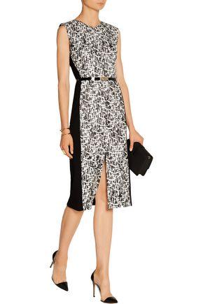 JASON WU Belted jacquard-tweed and cady dress