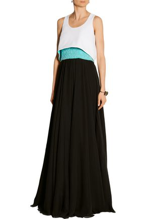 PRABAL GURUNG Convertible beaded silk-chiffon and crepe gown