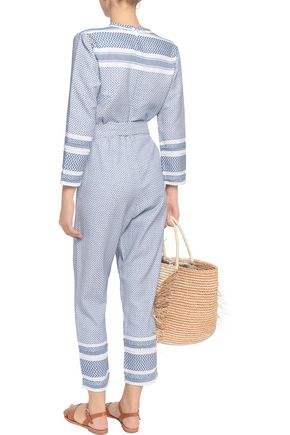 DODO BAR OR Belted cotton-jacquard jumpsuit