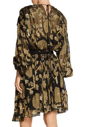 LANVIN Cutout metallic fil coupé chiffon mini dress