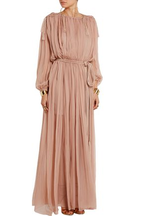 LANVIN Pleated silk-chiffon maxi dress