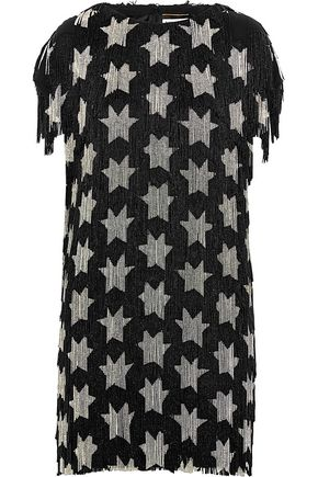 SAINT LAURENT Beaded silk-crepe mini dress