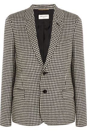 SAINT LAURENT Suede-trimmed houndstooth wool-tweed blazer