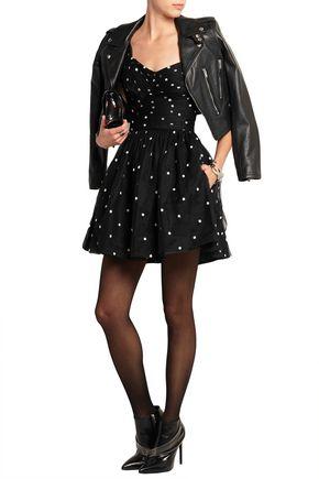 SAINT LAURENT Embroidered tulle mini dress