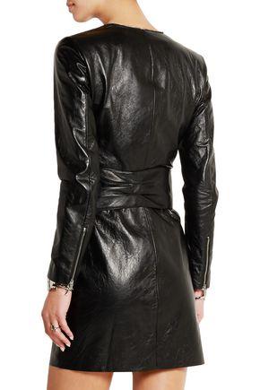 SAINT LAURENT Leather mini dress