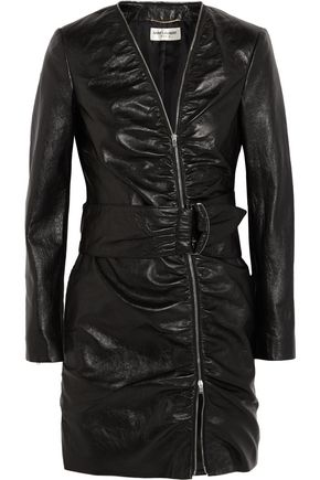 SAINT LAURENT Leather mini dress