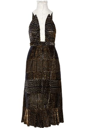 ALTUZARRA Swan fluted metallic devoré-georgette dress