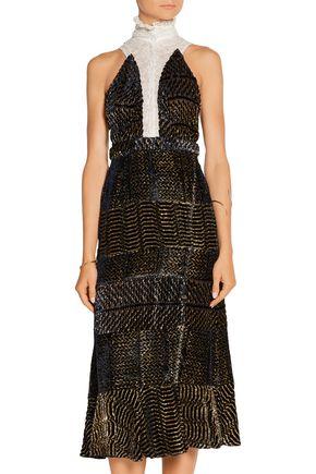 ALTUZARRA Swan fluted metallic devoré-georgette dress