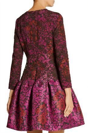 MARY KATRANTZOU Scarlett printed silk-satin twill and lace mini dress