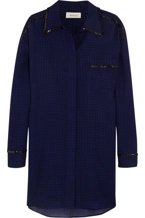 ISA ARFEN Oversized sequin-trimmed checked wool shirt dress