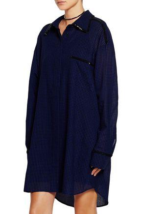 ISA ARFEN Oversized sequin-trimmed checked wool shirt dress