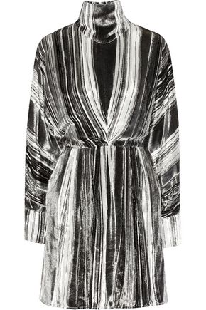 J.W.ANDERSON Striped devoré-chiffon turtleneck dress