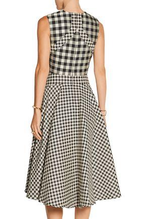 LELA ROSE Gingham jacquard midi dress