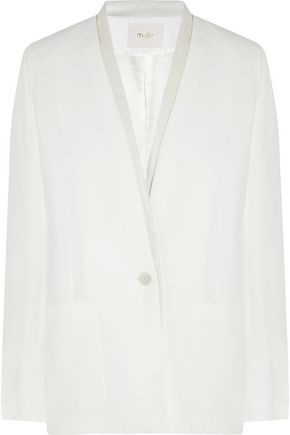 MAJE Fun leather-trimmed canvas blazer
