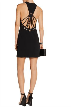 MUGLER Racer-back stretch-cady mini dress