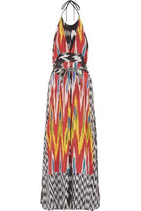 ALTUZARRA Peacock printed georgette and silk gown
