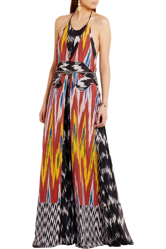 Peacock printed georgette and silk halterneck gown | ALTUZARRA | Sale up to  70% off | THE OUTNET
