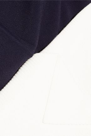 ROLAND MOURET Billingham crepe and herringbone cotton-blend mini dress